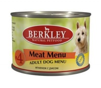 Berkley Dog Menu Meat Menu #4 Консервы для собак Ягненок с рисом